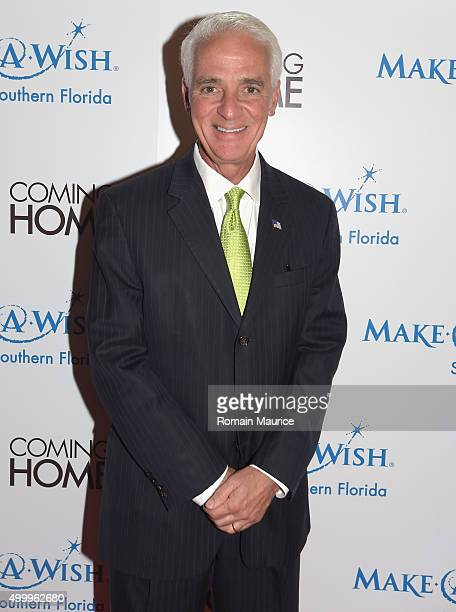 Charlie Crist attends Coming Home and MakeAWish Southern Florida Celebrate Miami Art Design Week at Coming Home Gallery on December 3 2015 in Miami...