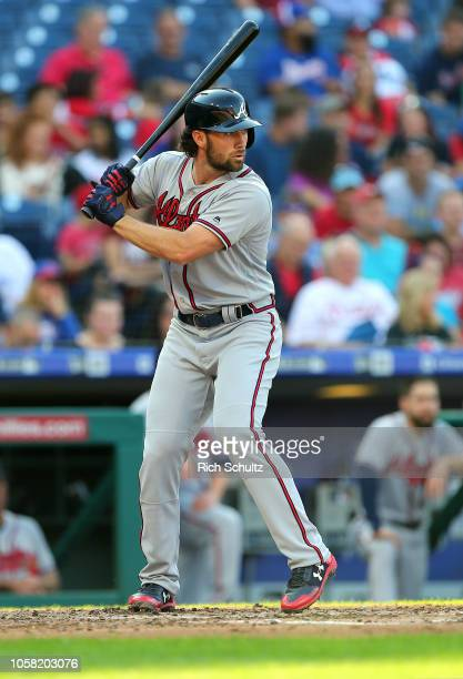 Charlie Culberson of the Atlanta Braves during a game against the Philadelphia Phillies at Citizens Bank Park on September 30 2018 in Philadelphia...