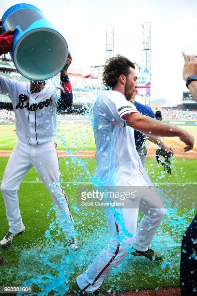 Charlie Culberson of the Atlanta Braves is doused with Gatorade after hitting a walkoff two run home run in the ninth inning against the New York...