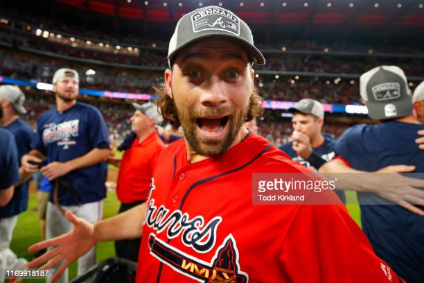 Charlie Culberson of the Atlanta Braves reacts at the conclusion of an MLB game against the San Francisco Giants in which they clinched the NL East...