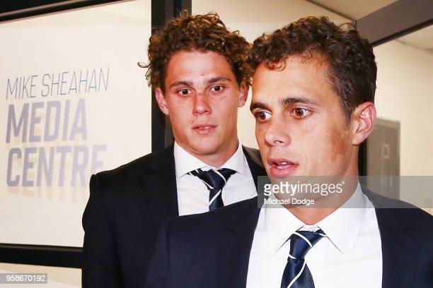 Charlie Curnow and brother Ed Curnow of the Carlton Blues leave after their AFL Tribunal Hearing into intentional contact with an umpire at AFL House...