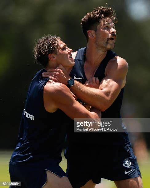 Charlie Curnow and Levi Casboult of the Blues in action during the Carlton Blues AFL preseason training session at Maroochydore Multisport Complex on...