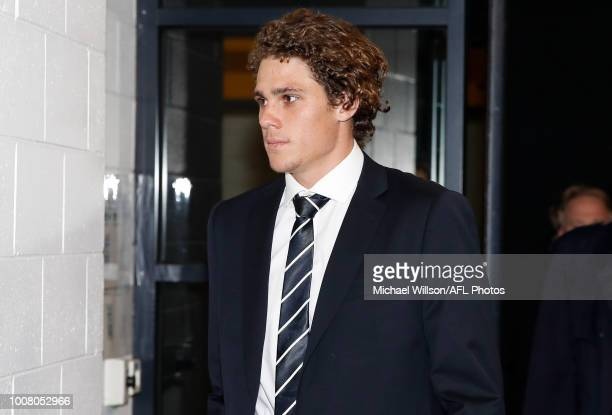Charlie Curnow arrives at the AFL Tribunal Hearing at AFL House on July 31, 2018 in Melbourne, Australia.