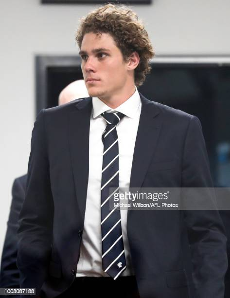 Charlie Curnow is seen at the AFL Tribunal Hearing at AFL House on July 31 2018 in Melbourne Australia