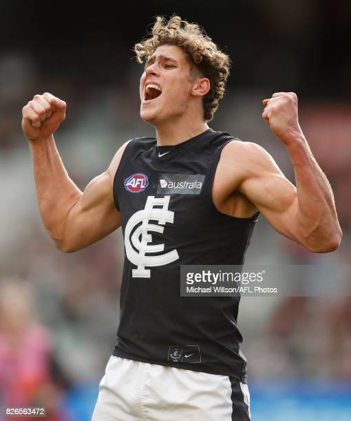 Charlie Curnow of the Blues celebrates a goal during the 2017 AFL round 20 match between the Essendon Bombers and the Carlton Blues at the Melbourne...