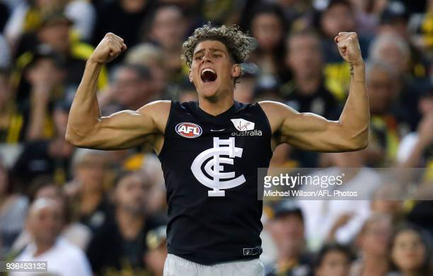 Charlie Curnow of the Blues celebrates a goal during the 2018 AFL round 01 match between the Richmond Tigers and the Carlton Blues at the Melbourne...