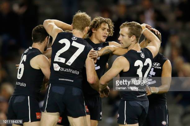 Charlie Curnow of the Blues celebrates a goal during the round 20 AFL match between the Carlton Blues and the Greater Western Sydney Giants at Etihad...