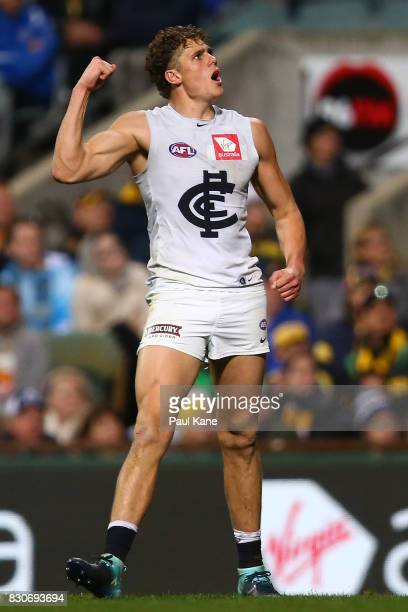 Charlie Curnow of the Blues celebrates a goal during the round 21 AFL match between the West Coast Eagles and the Carlton Blues at Domain Stadium on...
