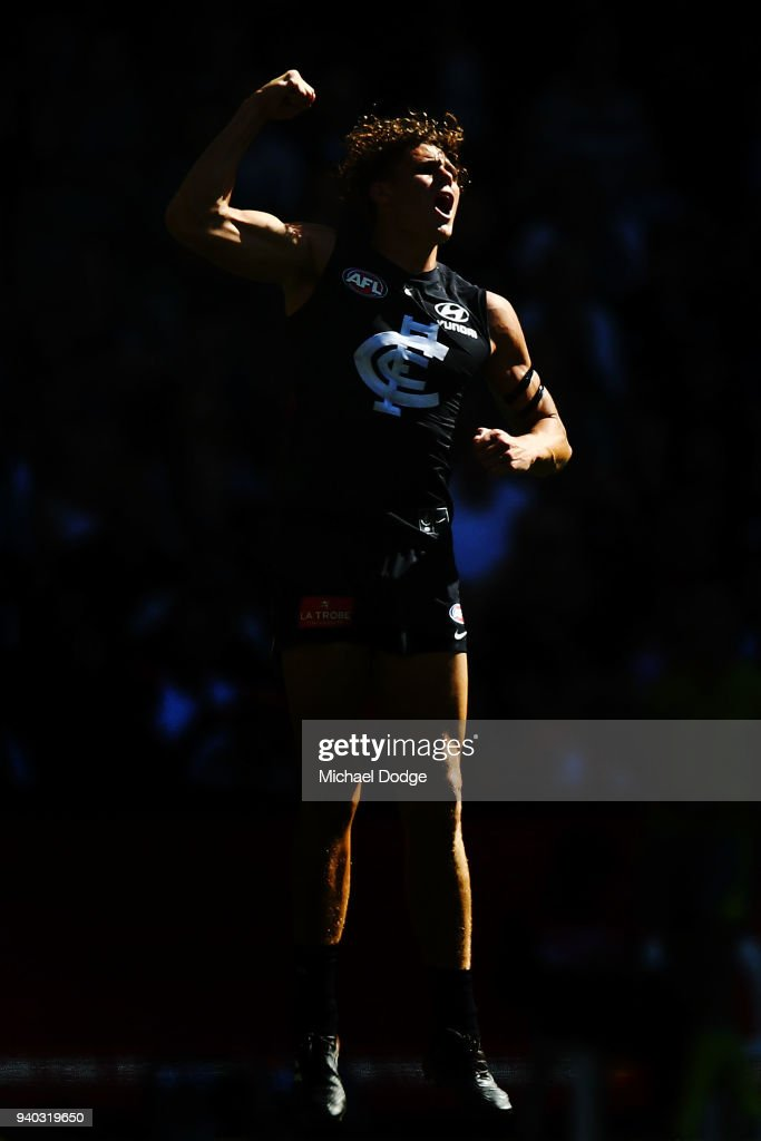Charlie Curnow of the Blues celebrates a goal during the round two AFL match between the Carlton Blues and the Gold Coast Suns at Etihad Stadium on March 31, 2018 in Melbourne, Australia.