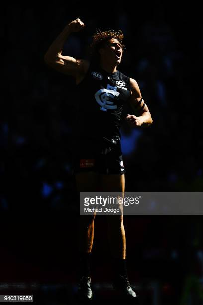 Charlie Curnow of the Blues celebrates a goal during the round two AFL match between the Carlton Blues and the Gold Coast Suns at Etihad Stadium on...