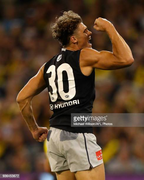 Charlie Curnow of the Blues celebrates during the 2018 AFL round 01 match between the Richmond Tigers and the Carlton Blues at the Melbourne Cricket...