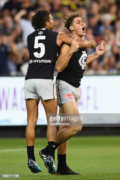 Charlie Curnow of the Blues celebrates kicking a goal during the round one AFL match between the Richmond Tigers and the Carlton Blues at Melbourne...