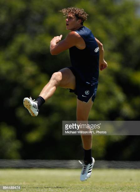 Charlie Curnow of the Blues in action during the Carlton Blues AFL preseason training session at Maroochydore Multisport Complex on December 17 2017...