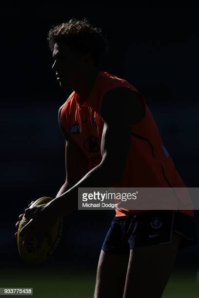 Charlie Curnow of the Blues looks ahead during a Carlton Blues AFL training session at Ikon Park on March 19 2018 in Melbourne Australia