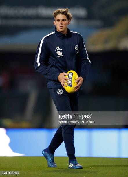 Charlie Curnow of the Blues looks on during the 2018 AFL Round 04 match between the North Melbourne Kangaroos and the Carlton Blues at Blundstone...