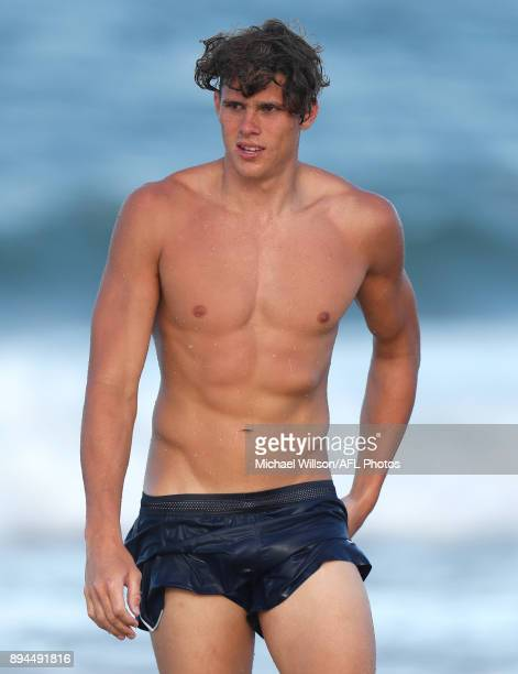 Charlie Curnow of the Blues looks on during the Carlton Blues AFL preseason training session at Mooloolaba Beach on December 17 2017 on the Sunshine...