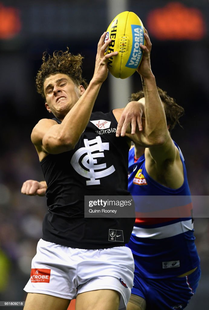 Charlie Curnow of the Blues marks during the AFL round six match between the Western Bulldogs and Carlton Blues at Etihad Stadium on April 27, 2018 in Melbourne, Australia.