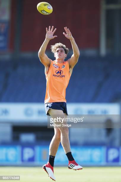 Charlie Curnow of the Blues marks the ball during a Carlton Blues AFL training session at Ikon Park on March 19 2018 in Melbourne Australia