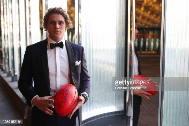 Charlie Curnow of the Blues wears MJ Bale for the 2018 Brownlow Medal at Crown Entertainment Complex on September 24 2018 in Melbourne Australia