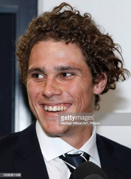 Charlie Curnow speaks to media after the AFL Tribunal Hearing at AFL House on July 31 2018 in Melbourne Australia