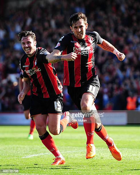 Charlie Daniels celebrates after scoring his side's fourth goal during the Sky Bet Championship match between AFC Bournemouth and Birmingham City at...