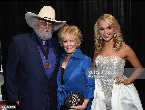 Charlie Daniels Hazel Daniels and Miss America Savvy Shields attend the 50th annual CMA Awards at the Bridgestone Arena on November 2 2016 in...