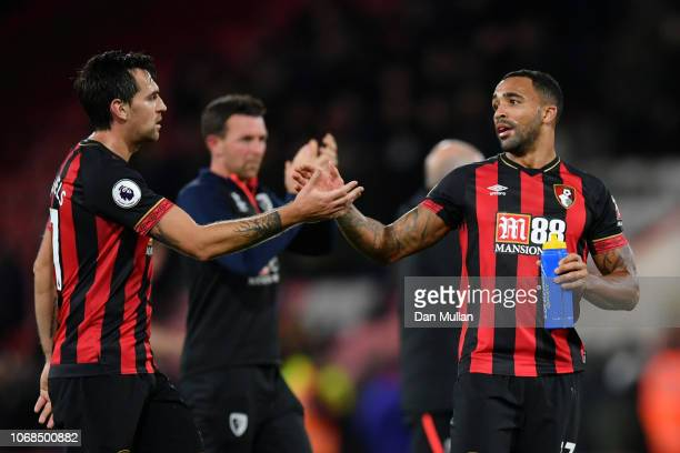 Charlie Daniels of AFC Bournemouth and Callum Wilson of AFC Bournemouth celebrate following their sides victory in the Premier League match between...