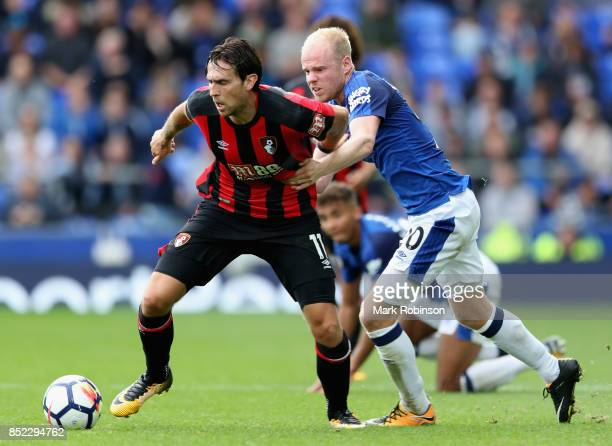 Charlie Daniels of AFC Bournemouth and Davy Klaassen of Everton battle for possession during the Premier League match between Everton and AFC...