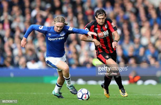 Charlie Daniels of AFC Bournemouth and Tom Davies of Everton compete for the ball during the Premier League match between Everton and AFC Bournemouth...