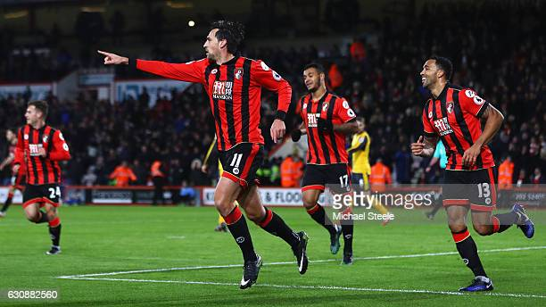 Charlie Daniels of AFC Bournemouth celebrates scoring the opening goal during the Premier League match between AFC Bournemouth and Arsenal at...