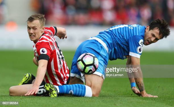 Charlie Daniels of AFC Bournemouth fouls James WardProwse of Southampton during the Premier League match between Southampton and AFC Bournemouth at...
