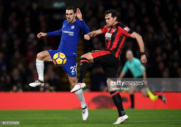 Charlie Daniels of AFC Bournemouth is challenged by Davide Zappacosta of Chelsea during the Premier League match between Chelsea and AFC Bournemouth...