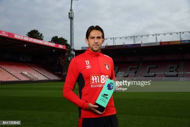Charlie Daniels of AFC Bournemouth poses with the Carling Goal of the Month Award for August 2017 on September 7 2017 in Bournemouth England
