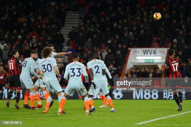 Charlie Daniels of AFC Bournemouth scores his team's fourth goal during the Premier League match between AFC Bournemouth and Chelsea FC at Vitality...