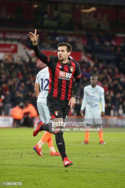 Charlie Daniels of Bournemouth celebrates after he scores a goal to make it 4-0 during the Premier League match between AFC Bournemouth and Chelsea...