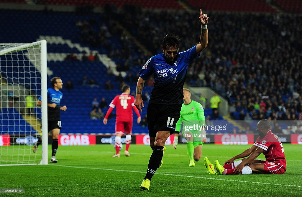 Charlie Daniels of Bournemouth celebrates after scoring his side's second goal during the Capital One Cup third round match between Cardiff City and Bournemouth at Cardiff City Stadium on September 23, 2014 in Cardiff, Wales.
