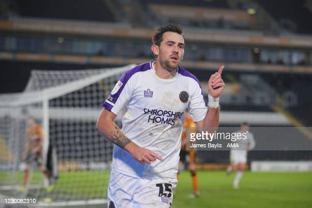 Charlie Daniels of Shrewsbury Town celebrates after scoring a goal to make it 0-1 during the Sky Bet League One match between Hull City and...