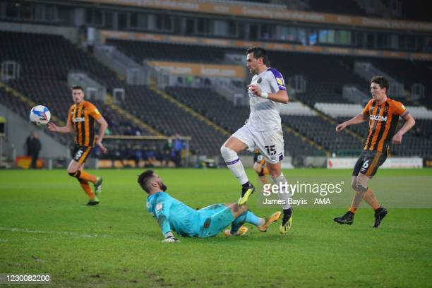 Charlie Daniels of Shrewsbury Town scores a goal to make it 0-1 during the Sky Bet League One match between Hull City and Shrewsbury Town at KCOM...