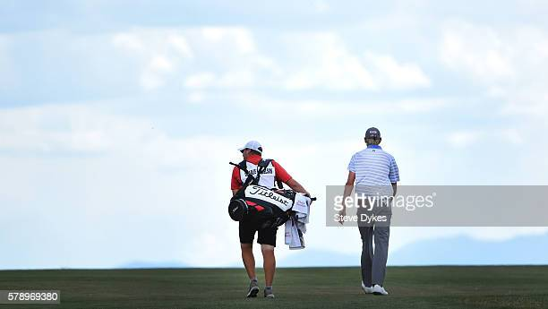 Charlie Danielson and his caddie walk up the sixth hole during the second round of the Utah Championship Presented by Zions Bank at Thanksgiving...