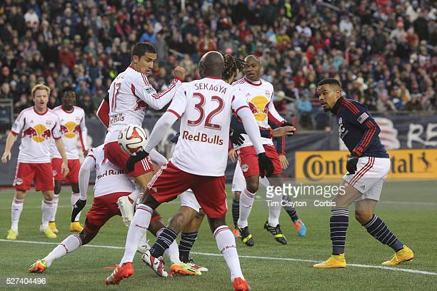 Charlie Davies New England Revolution scores the first of his two goal during the New England Revolution Vs New York Red Bulls MLS Eastern Conference...