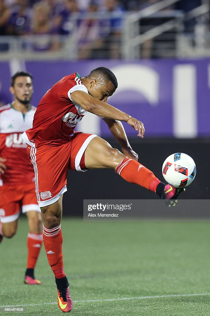 Charlie Davies #9 of New England Revolution shoots on goal during a MLS soccer match at Camping World Stadium on July 31, 2016 in Orlando, Florida.