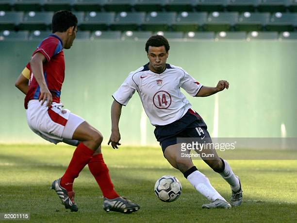 Charlie Davies of the USA moves the ball against Jody Steward of Costa Rica during the Under20 Men's 2005 CONCACAF Qualifying Tournament on January...