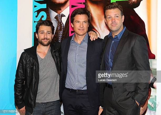 Charlie Day Jason Bateman and Jason Sudeikis arrive at the Australian Premiere of Horrible Bosses on August 14 2011 in Melbourne Australia