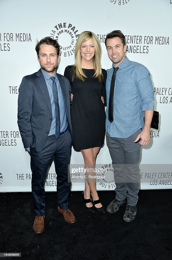 Charlie Day, Kaitlin Olson and Rob McElhenney arrive at The Paley Center for Media's 2013 benefit gala honoring FX Networks with the Paley Prize for Innovation & Excellence at Fox Studio Lot on October 16, 2013 in Century City, California.