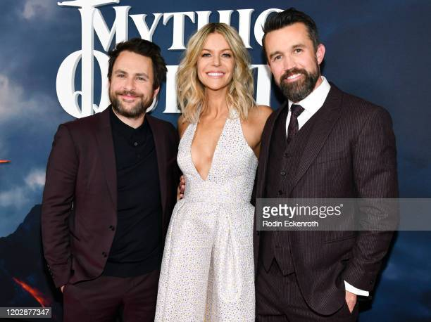 Charlie Day Kaitlin Olson and Rob McElhenney attend the Premiere of Apple TV's Mythic Quest Raven's Banquet at The Cinerama Dome on January 29 2020...