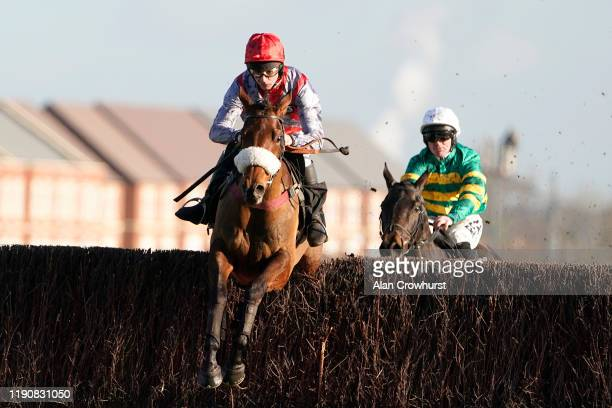 Charlie Deutsch riding Fanion D'Estruval clear the last to win The Ladbrokes Chase at Newbury Racecourse on November 29 2019 in Newbury England