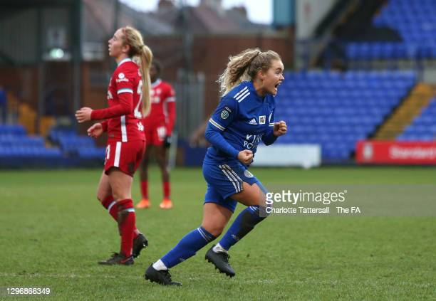Charlie Devlin of Leicester City celebrates after scoring their sides second goal during the Barclays FA Women's Championship match between Liverpool...
