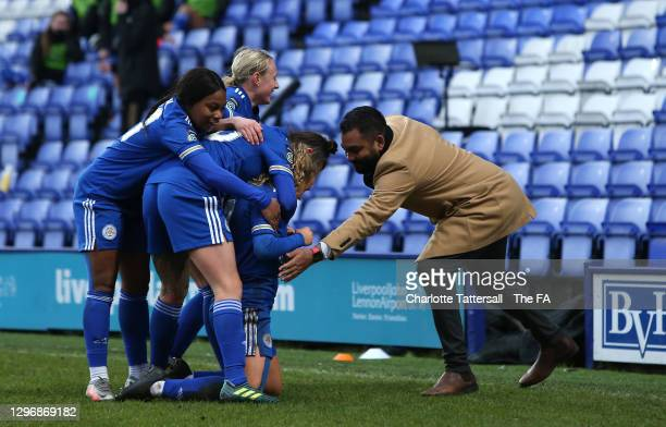 Charlie Devlin of Leicester City celebrates with team mates and manager, Jonathan Morgan after scoring their side's first goal during the Barclays FA...