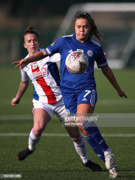 Charlie Devlin of Leicester City controls the ball during the Barclays FA Women's Championship match between Leicester City Women and Crystal Palace...