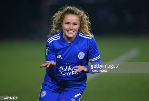 Charlie Devlin of Leicester City Women celebrates scoring the third goal for Leicester City Women during the FA Women's Continental League Cup tie...
